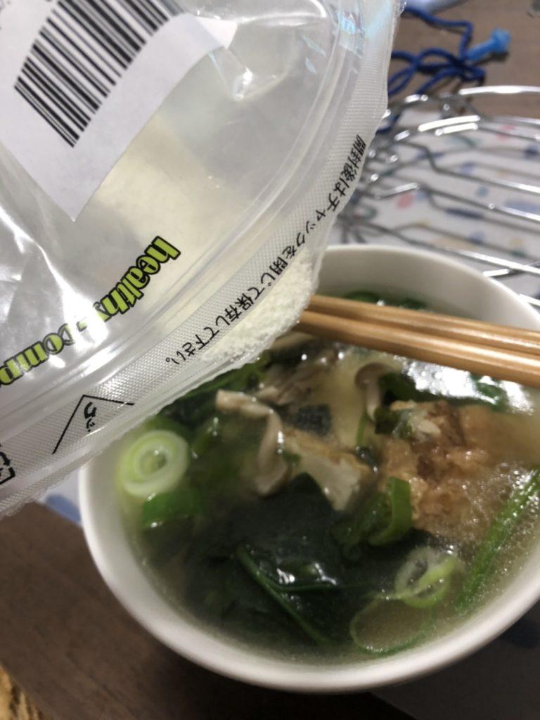 難消化性デキストリンとスープ
